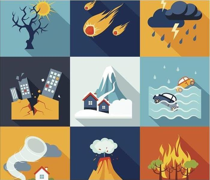 Box icons of natural disasters