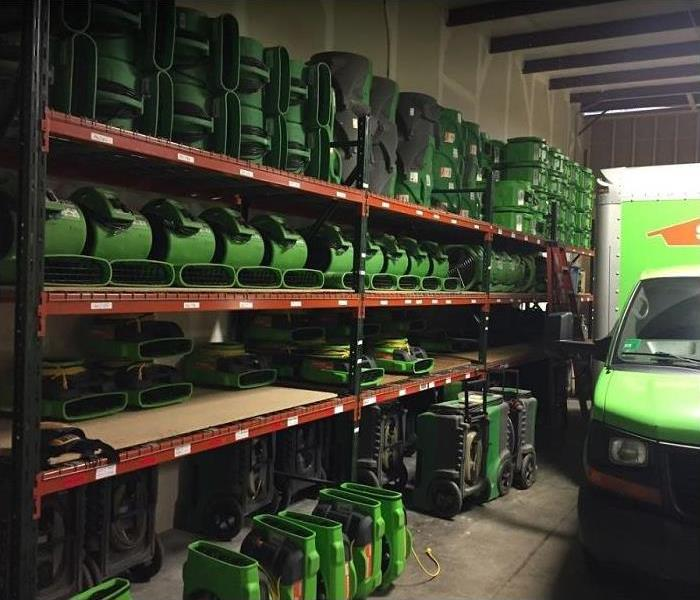 SERVPRO restoration equipment inside of storage facility