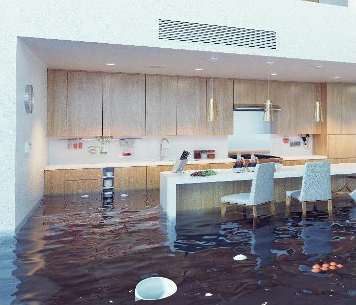 flooding in luxurious kitchen interior.